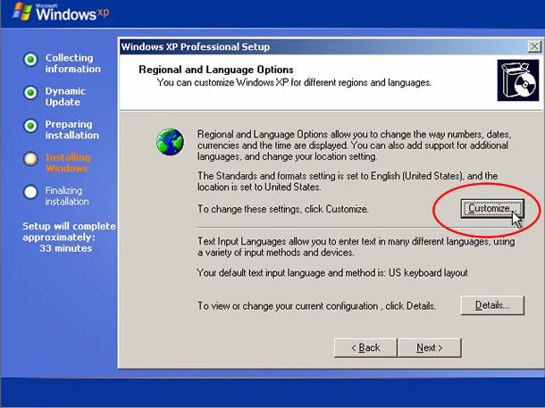 XP installation - Regional and Language Options