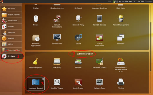 Ubuntu 9.10 Netbook Remix desktop - System - Administration - Language Support