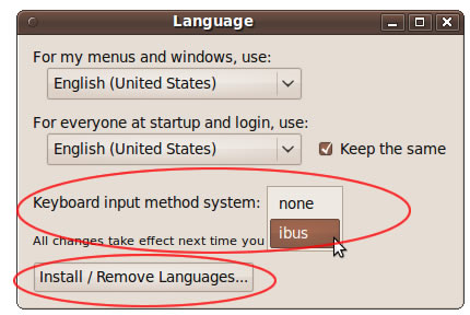 Ubuntu 9.10 Language panel