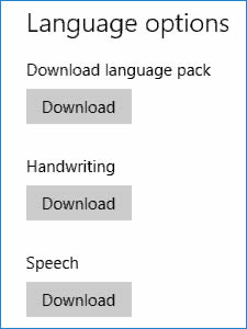 Settings -Chinese  language packs, handwriting, and speech download buttons