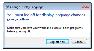 Windows 7 Change Display Language dialog box