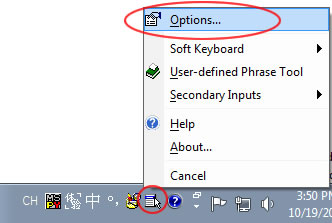 Windows 7 CH MSPY Options menu