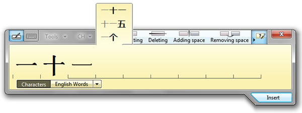 Chinese handwriting recognition with the Windows 7 Tablet PC Input Panel