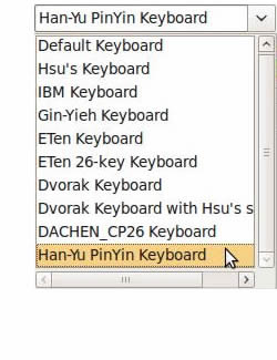 The Chewing SCIM keyboard preference menu
