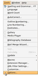 Opening OpenOffice Language Settings from the Tools menu