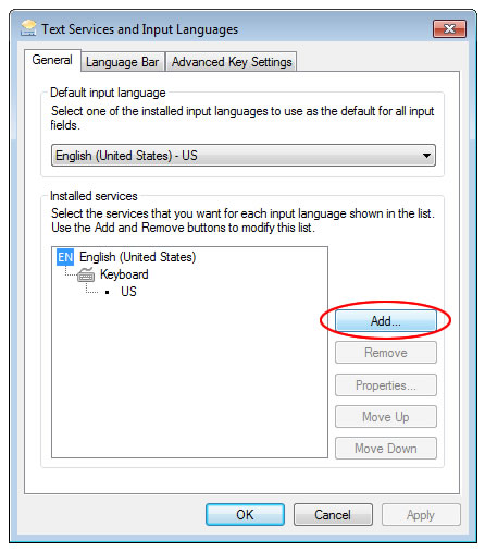 Windows 7 Text Services and Input Languages window: add button