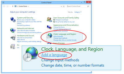 Windows 8 Control Panel - Add a language